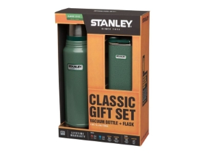 Stanley, Classic Gift Set, Flask + Taschenflasche 18/8 stainless steel, hammered finish green